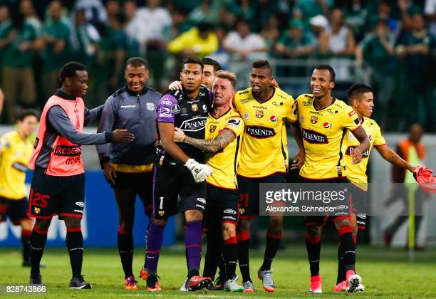 Players of Barcelona de Guayaquil celebrate their victory after winning the match between Palmeiras and Barcelona de Guayaquil for the Copa...
