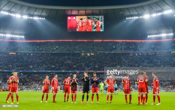 Players of Bayern Munich celebrate the victory after the Champions League group B match between FC Bayern Munich and Celtic Glasgow in Munich...