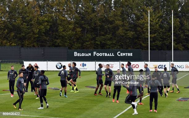 Players of Belgian national football team Red Devils train on October 9 in Tubize on the eve of the team's FIFA World Cup 2018 qualifying football...