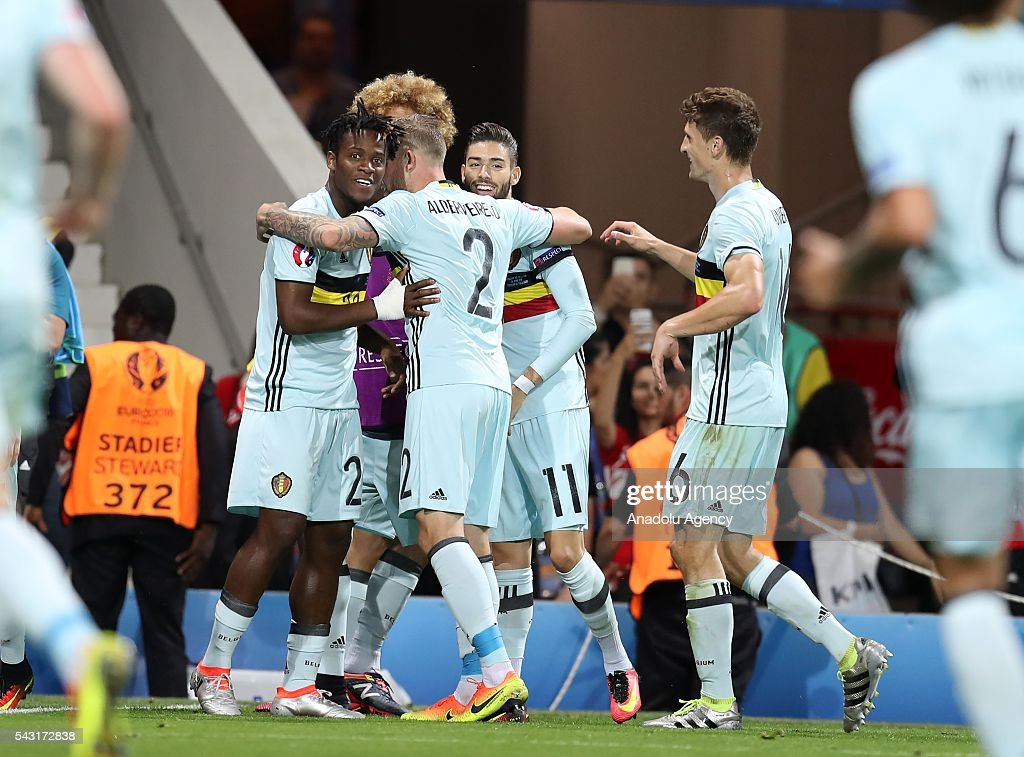 Players of Belgium celebrate after scoring a goal during the UEFA Euro 2016 round of 16 football match between Hungary and Belgium at Stadium Municipal in Toulouse, France on June 26, 2016.