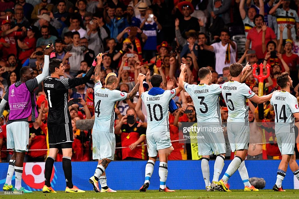 players of Belgium celebrate after the UEFA EURO 2016 Round of 16 match between Hungary and Belgium at the Stadium Toulouse on June 26, 2016 in Toulouse, France ,