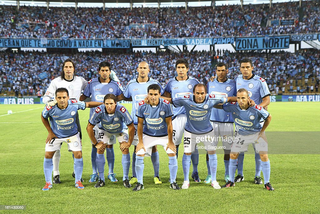 Players of Belgrano pose before the match between Belgrano and River for the Torneo Final 2013 on February 10, 2013 in Cordoba, Argentina.