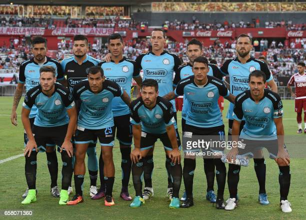 Players of Belgrano pose for a photo prior to the first during a match between River Plate and Belgrano as part of Torneo Primera Division 2016/17 at...