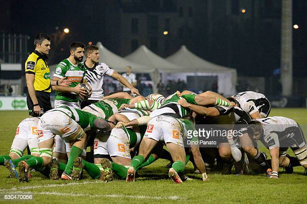 Players of Benetton Treviso and Zebre Rugby in scrum during the Guinness Pro 12 match between Benetton Treviso and Zebre Rugby at Stadio comunale di...