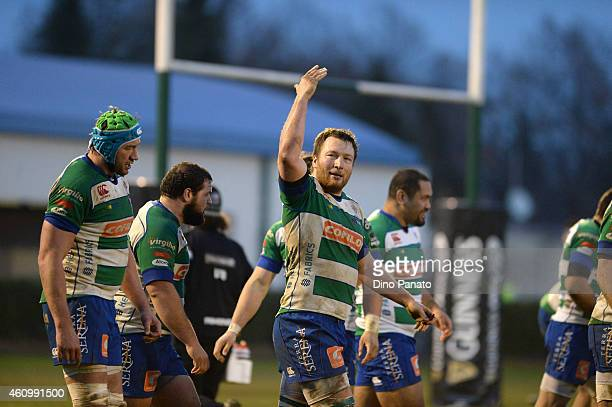 Players of Benetton Treviso celebrates Edoardo Goris's try during the Guinness Pro 12 match between Benetton Treviso and Zebre Parma at Stadio...