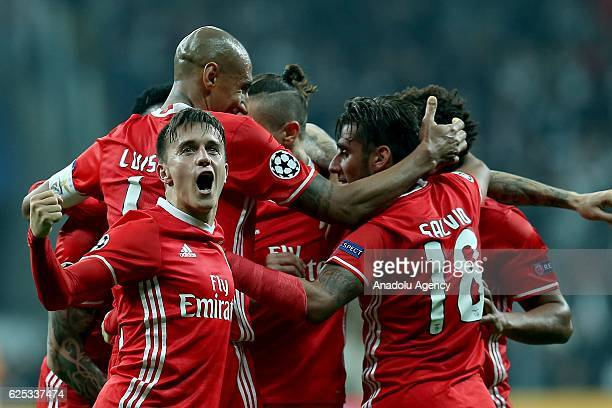 Players of Benfica celebrate scoring a goal during the UEFA Champions League Group B match between Besiktas and SL Benfica at Vodafone Arena in...