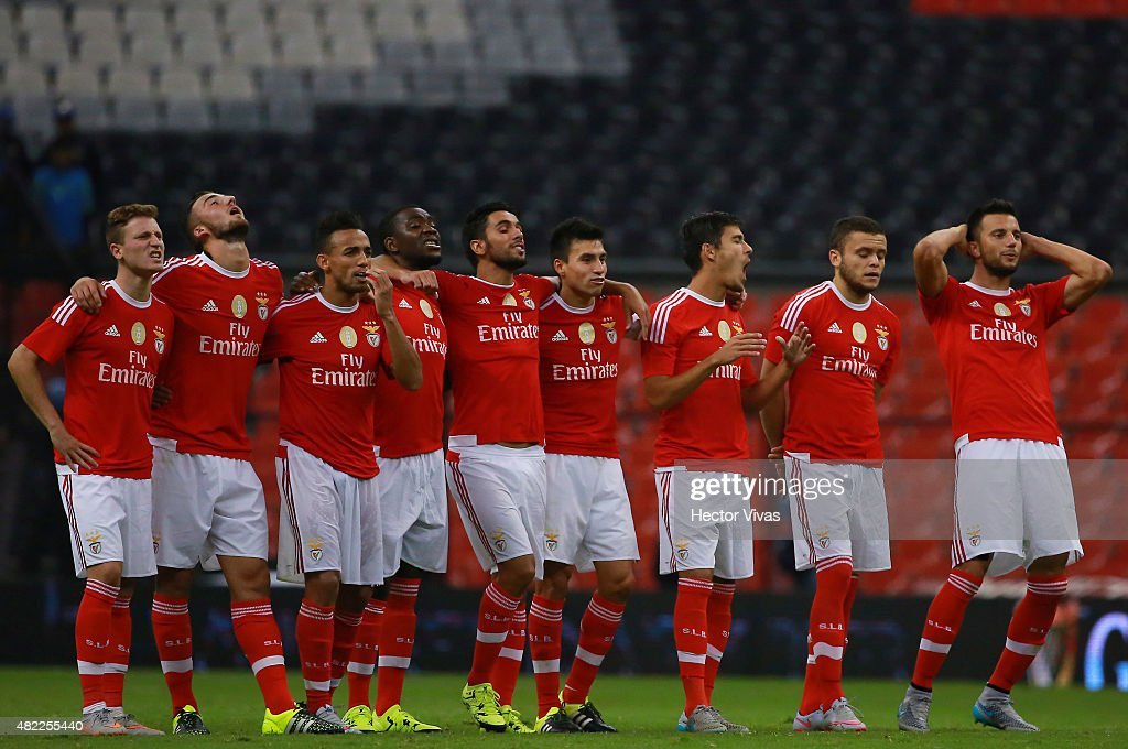 Players of Benfica gesture during a penalty shootout against America as part of the International Champions Cup 2015 at Azteca Stadium on July 28, 2015 in Mexico City, Mexico.