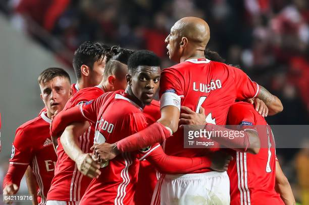 Players of Benfica Lissabon after winning the UEFA Champions League Round of 16 First Leg match between SL Benfica and Borussia Dortmund at Estadio...