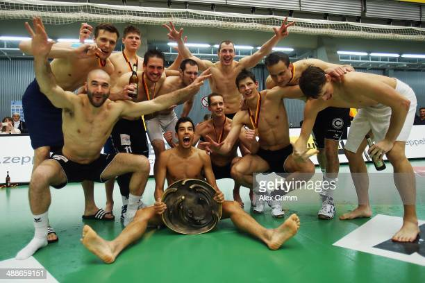 Players of Berlin celebrate after winning the DVL Volleyball Playoff Finals between VfB Friedrichshafen and Berlin Recycling Volleys at ZF Arena on...