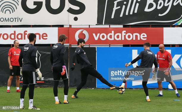 Players of Besiktas attend a training session ahead of the Turkish Spor Toto Super Lig new season match between Besiktas and Antalyaspor at Nevzat...