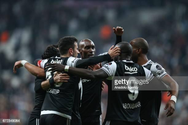 Players of Besiktas celebrate after scoring a goal during the Turkish Spor Toto Super Lig football match between Besiktas and Adanaspor at Vodafone...