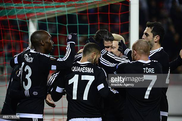Players of Besiktas celebrate Gomez's score during the UEFA Europa League Group H soccer match between Lokomotiv Moscow and Besiktas at Lokomotiv...
