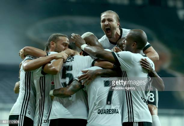 Players of Besiktas celebrate their score during a Turkish Spor Toto Super Lig soccer match between Besiktas JK and Antalyaspor at Vodafone Park in...