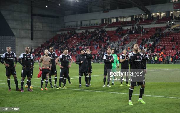 Players of Besiktas celebrate winning the UEFA Europa League Round of 32 match between Hapoel BeerSheva and Besiktas at Turner Stadium in Beersheba...