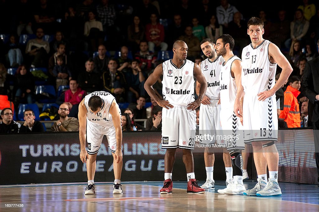 Players of Besiktas JK Istanbul in action during the 2012-2013 Turkish Airlines Euroleague Top 16 Date 11 between FC Barcelona Regal v Besiktas JK Istanbul at Palau Blaugrana on March 15, 2013 in Barcelona, Spain.