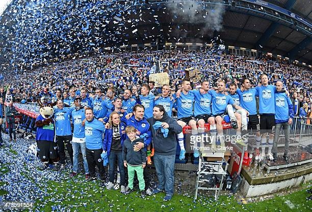 Players of Bielefeld celebrate after the Third League match between Arminia Bielefeld and Jahn Regensburg at Schueco Arena on May 16 2015 in...