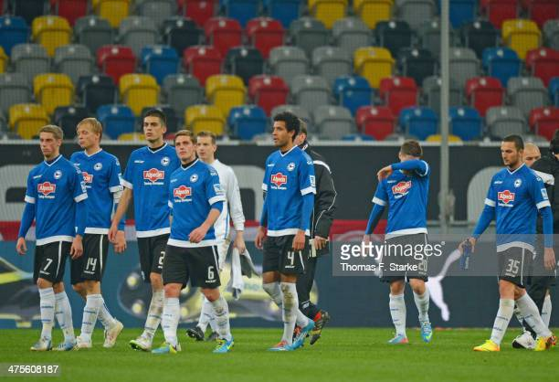 Players of Bielefeld leave the pitch dejected after loosing the Second Bundesliga match between Fortuna Duesseldorf and Arminia Bielefeld at...