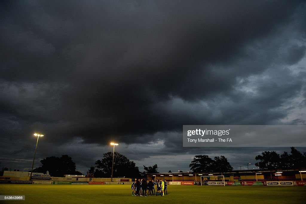 Players of Birmingham City Ladies warm down after the match during the WSL match between Birmingham City Ladies and Arsenal Ladies FC at Automated Technology Stadium on June 29, 2016 in Solihull, England.