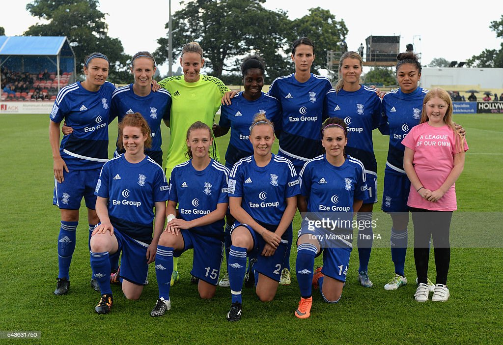 Players of Birmingham City Ladiespose for a team picture before the WSL match between Birmingham City Ladies and Arsenal Ladies FC at Automated Technology Stadium on June 29, 2016 in Solihull, England.
