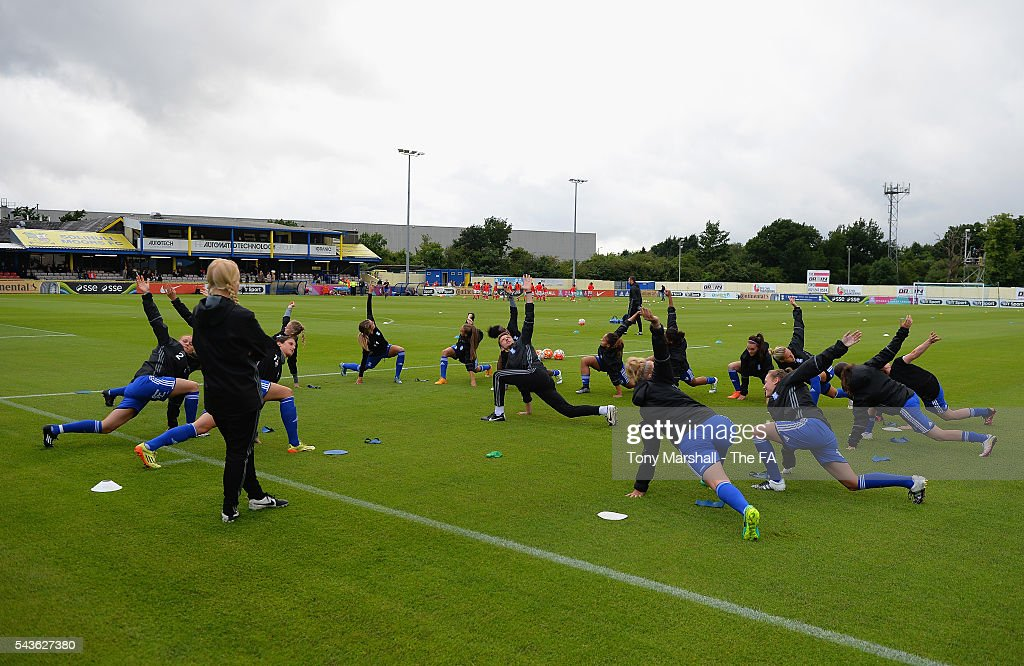 Players of Birmingham City Ladieswarm up befrore the WSL match between Birmingham City Ladies and Arsenal Ladies FC at Automated Technology Stadium on June 29, 2016 in Solihull, England.