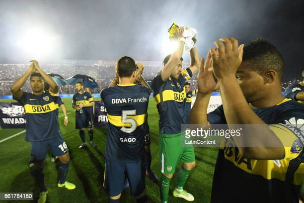 Players of Boca Juniors celebrate after winning a match between Patronato and Boca Juniors as part of Superliga 2017/18 at Presbitero Bartolome...