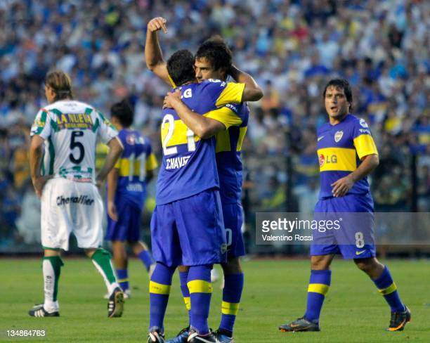 Players of Boca Juniors celebrate after winning he championship Apertura 2011 during between Boca and Banfield as part of the IVECO Bicentenario...