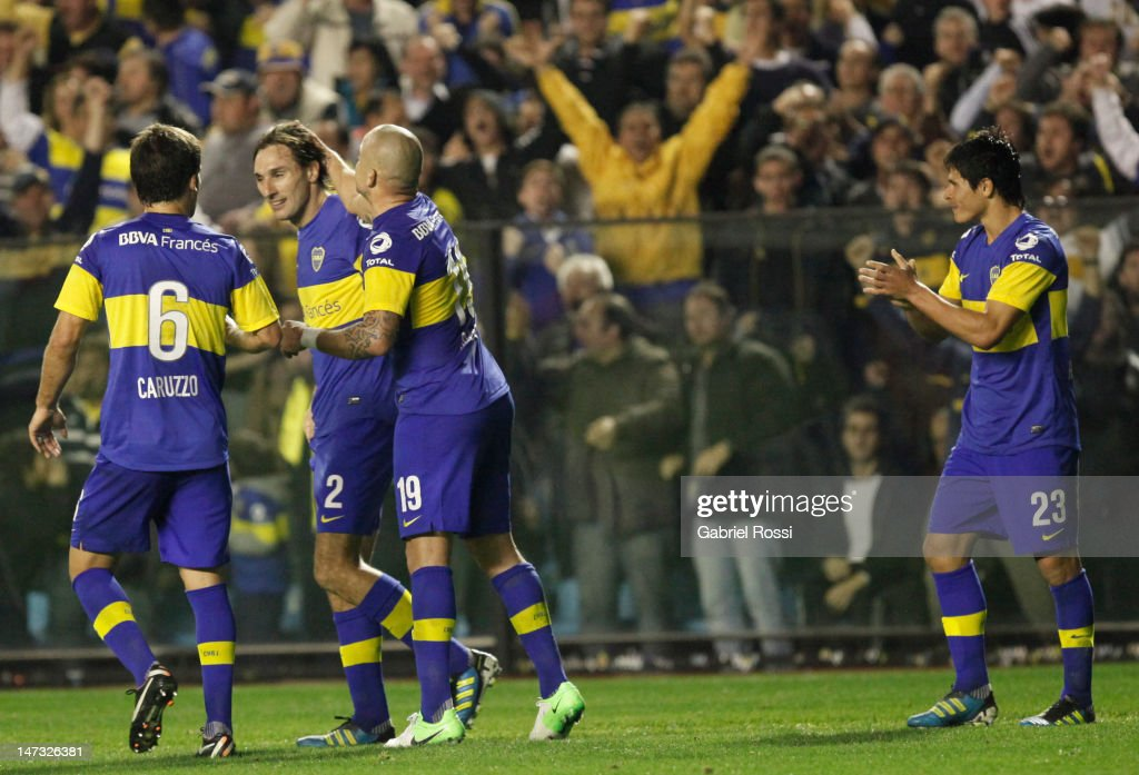 Players of Boca Juniors, celebrates a goal during the first leg of the Copa Libertadores 2012 finals between Boca Jrs and Corinthians at Bombonera Stadium on June 27, 2012 in Buenos Aires, Argentina.