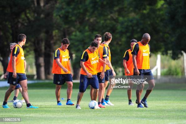 Players of Boca Juniors in action during a pre season training session at Club Banco Provincia on January 15 2013 in Tandiel Buenos Aires Argentina