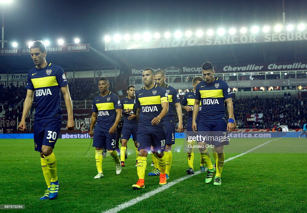Players of Boca Juniors leave the field after a match between Lanus and Boca Juniors as part of first round of Campeonato de Primera Division...
