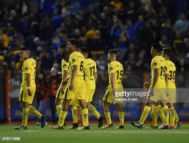 Players of Boca Juniors look dejected after a match between Boca Juniors and Racing Club as part of the Superliga 2017/18 at Alberto J Armando...