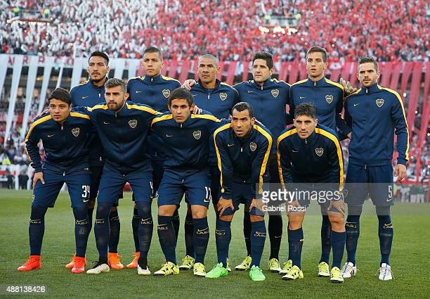 Players of Boca Juniors pose for a photo prior the match between River Plate and Boca Juniors as part of 24th round of Torneo Primera Division 2015...