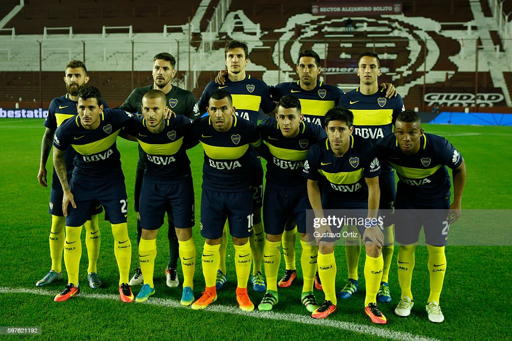 Players of Boca pose for a team photo prior to a match between Lanus and Boca Juniors as part of first round of Campeonato de Primera Division...