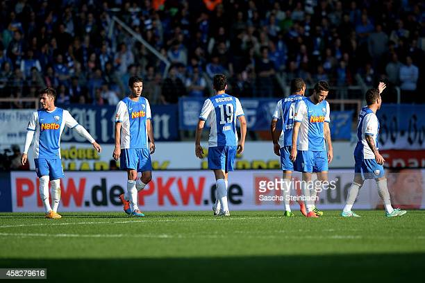 Players of Bochum look dejected after losing their 2 Bundesliga match against 1860 Muenchen at Rewirpower Stadium on November 2 2014 in Bochum Germany