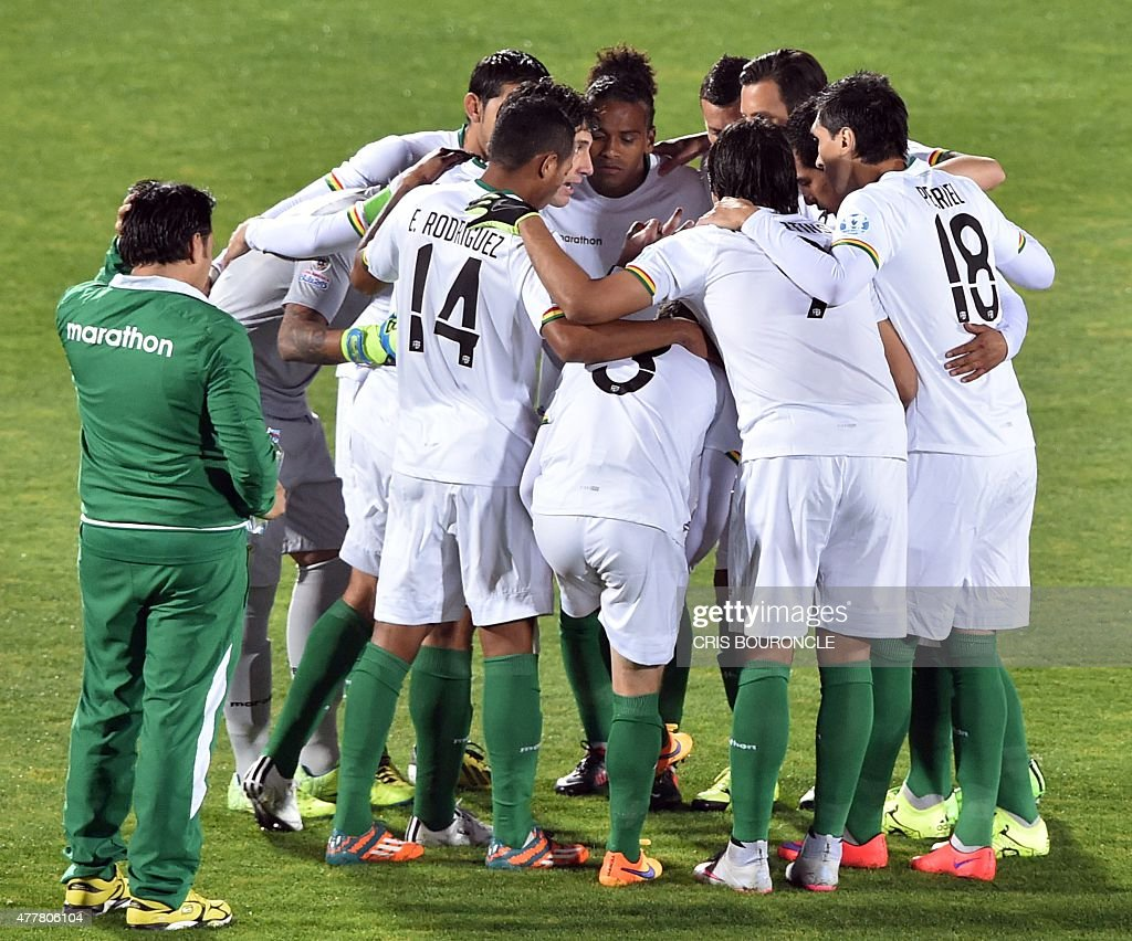Players of Bolivia gather before the start of their 2015 Copa America football championship match against Chile in Santiago on June 19 2015 AFP PHOTO...