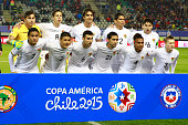 Players of Bolivia pose for a team photo prior the 2015 Copa America Chile quarter final match between Peru and Bolivia at German Becker Stadium on...