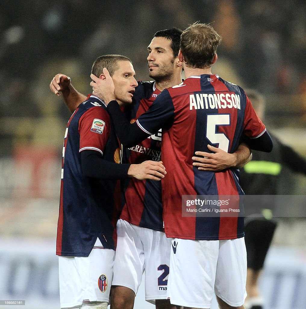 Players of Bologna FC celebrate at the end of the Serie A match between Bologna FC and AC Chievo Verona at Stadio Renato Dall'Ara on January 12, 2013 in Bologna, Italy.