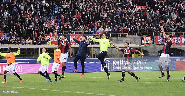 players of Bologna FC celebrate at the end of the Serie A match between Bologna FC and Atalanta BC at Stadio Renato Dall'Ara on November 1 2015 in...