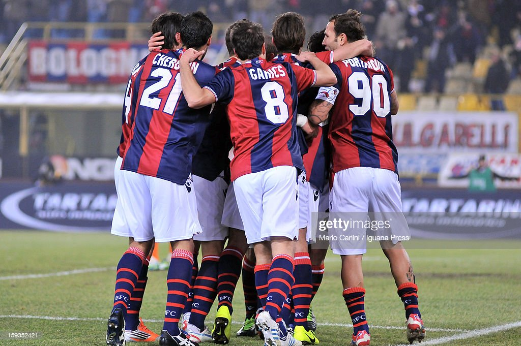 Players of Bologna FC celebrate during the Serie A match between Bologna FC and AC Chievo Verona at Stadio Renato Dall'Ara on January 12, 2013 in Bologna, Italy.