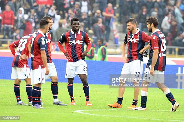 Players of Bologna FC look dejected at the end of the Serie A match between Bologna FC and US Citta di Palermo at Stadio Renato Dall'Ara on October...