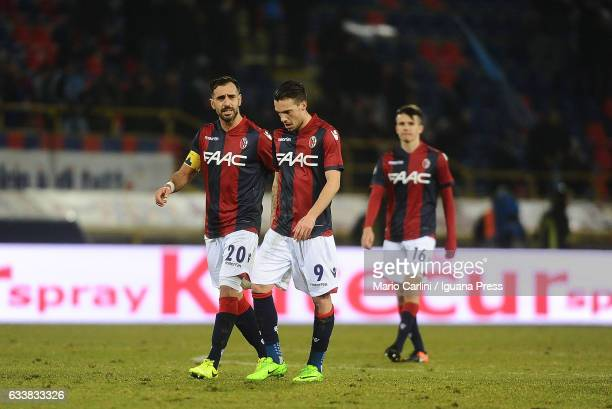 Players of Bologna FC look dejected during the Serie A match between Bologna FC and SSC Napoli at Stadio Renato Dall'Ara on February 4 2017 in...