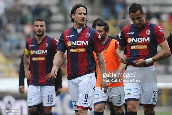 players of Bologna FC show their dejection at the end of the Serie B match between Bologna FC and AC Spezia at Stadio Renato Dall'Ara on April 18...