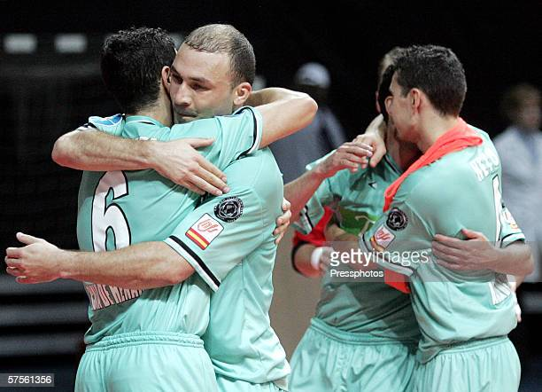 Players of Boomerang Interviu celebrate their victory in UEFA Futsal Cup final on May 7 2006 in Moscow Russia