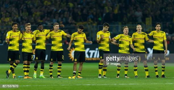 Players of Borussia Dortmund are seen during the DFL Supercup 2017 match between Borussia Dortmund and Bayern Muenchen at Signal Iduna Park on August...