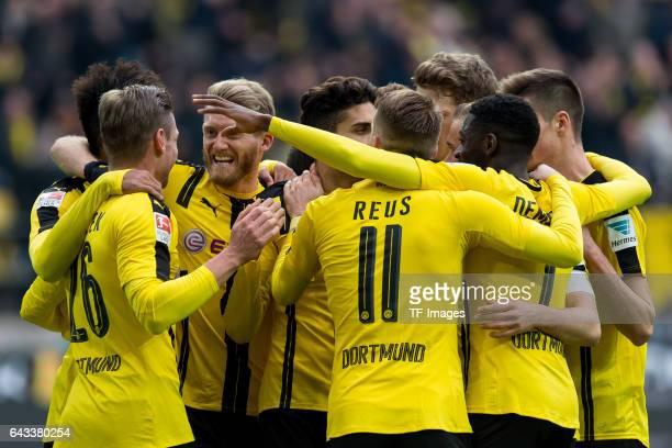 Players of Borussia Dortmund celebrate after scoring a goal during the Bundesliga match between Borussia Dortmund and VfL Wolfsburg at Signal Iduna...