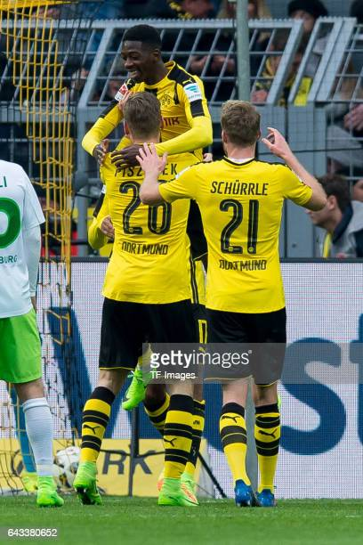 Players of Borussia Dortmund celebrate after scoring a goal during the Bundesliga match between Borussia Dortmund and VfL Wolfsburg at Signal Iduna...
