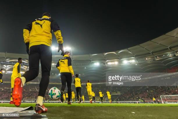 Players of Borussia Dortmund warm up prior the Bundesliga match between VfB Stuttgart and Borussia Dortmund at MercedesBenz Arena on November 11 2017...