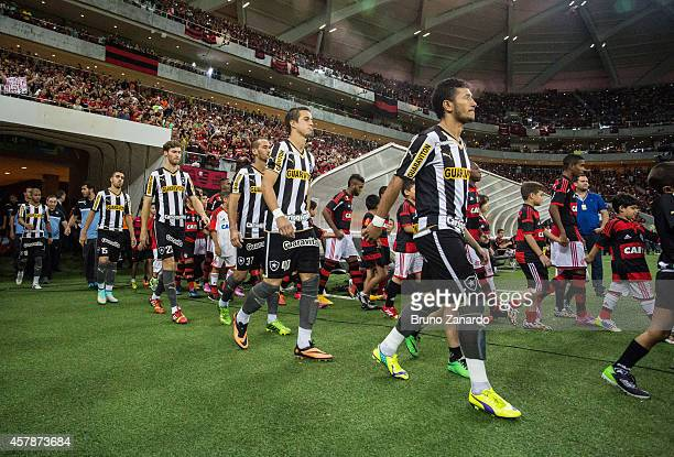 Players of Botafogo and Flamengo enter in the field on Arena da Amazonia before the match between Flamengo and Botafogo as part of Brasileirao Series...