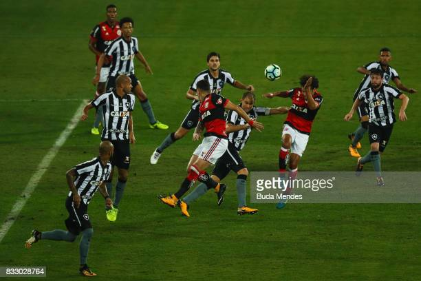 Players of Botafogo and Flamengo fight to the ball during a match between Botafogo and Flamengo as part of Copa do Brasil Semifinals 2017 at Nilton...