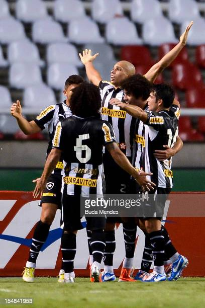 Players of Botafogo celebrate a goal of Doria against Atletico GO during a match between Botafogo and Atletico GO as part of Serie A 2012 at Engenhao...