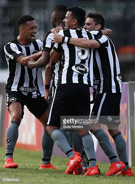 Players of Botafogo celebrate a scored goal against Flamengo during a match between Flamengo and Botafogo as part of Brasileirao Series A 2016 at...